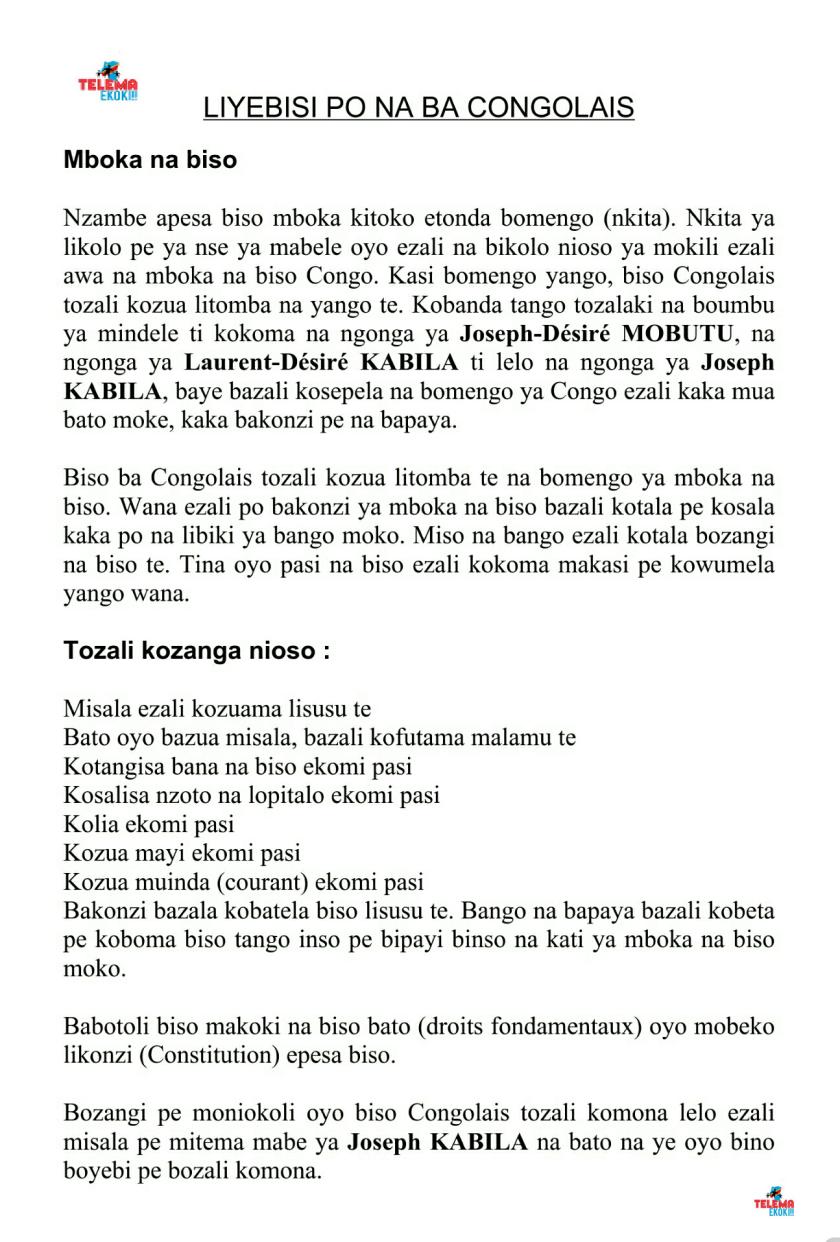 MESSAGE TELEMA EN LINGALA 1