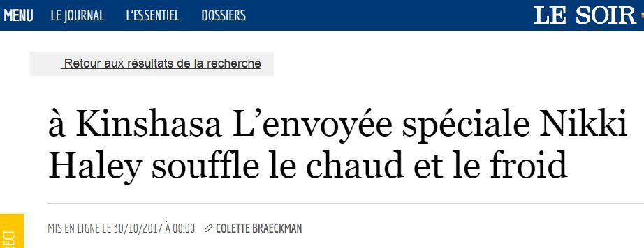 A Kinshasa l'envoyée spéciale Nikki Haley souffle le chaud et le froid /COLLETE BRAECKMAN – LESOIR