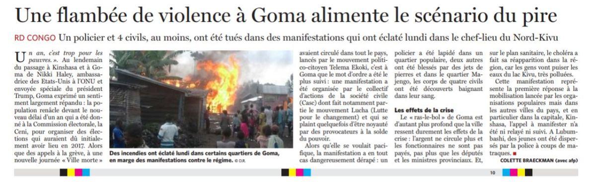 Une flambée de violence à Goma alimente le scénario du pire /COLETTE BRAECKMAN – LESOIR