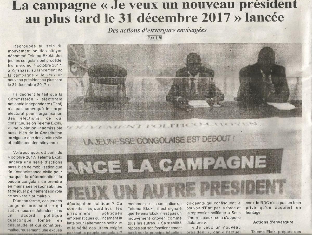 La campagne « Je veux un nouveau président au plus tard le 31 décembre 2017 » lancée / TEMPETE DETROPIQUES