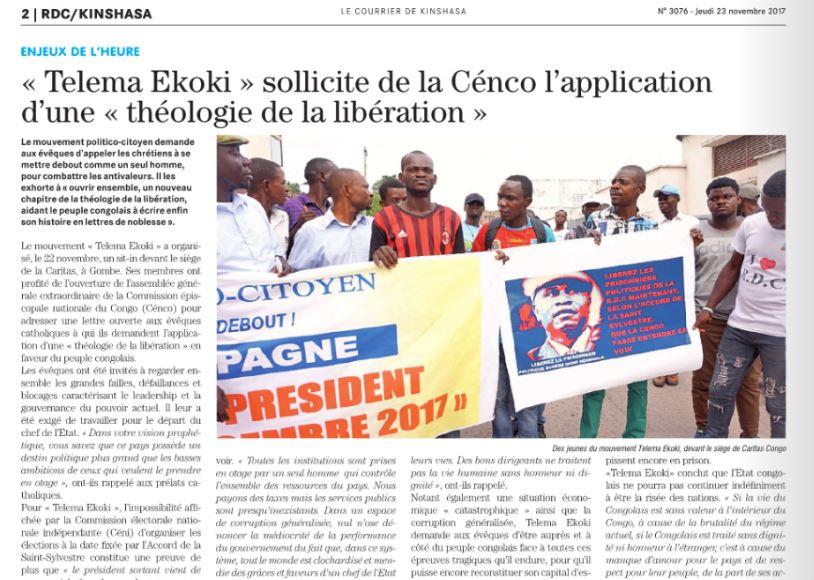Enjeux de l'heure : « Telema Ekoki » sollicite de la Cénco l'application d'une « théologie de la libération »/ COURRIER DEKINSHASA