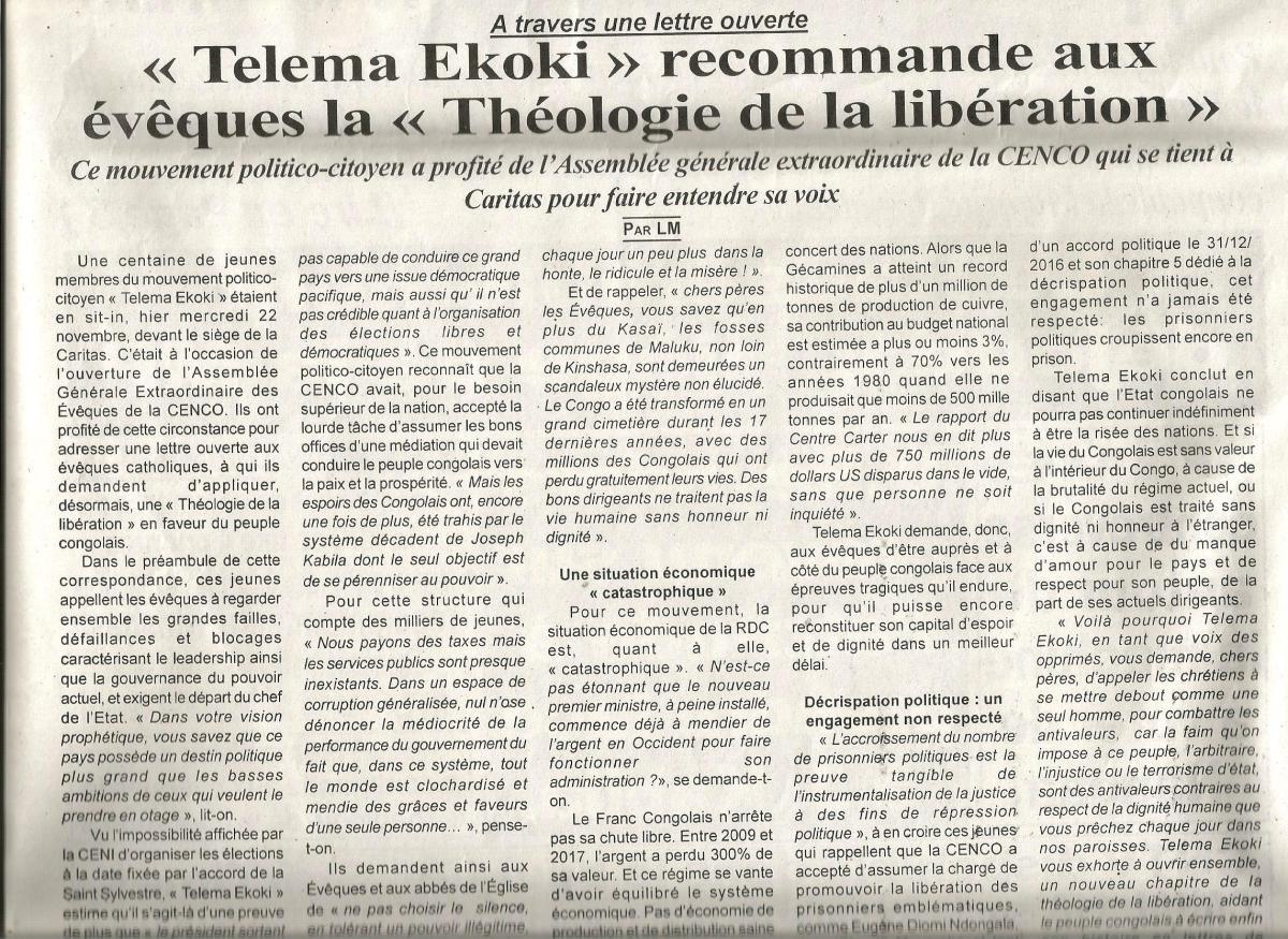 A travers une lettre ouverte : « Telema Ekoki » recommande aux évêques la « Théologie de la libération »/ TEMPETE DESTROPIQUES