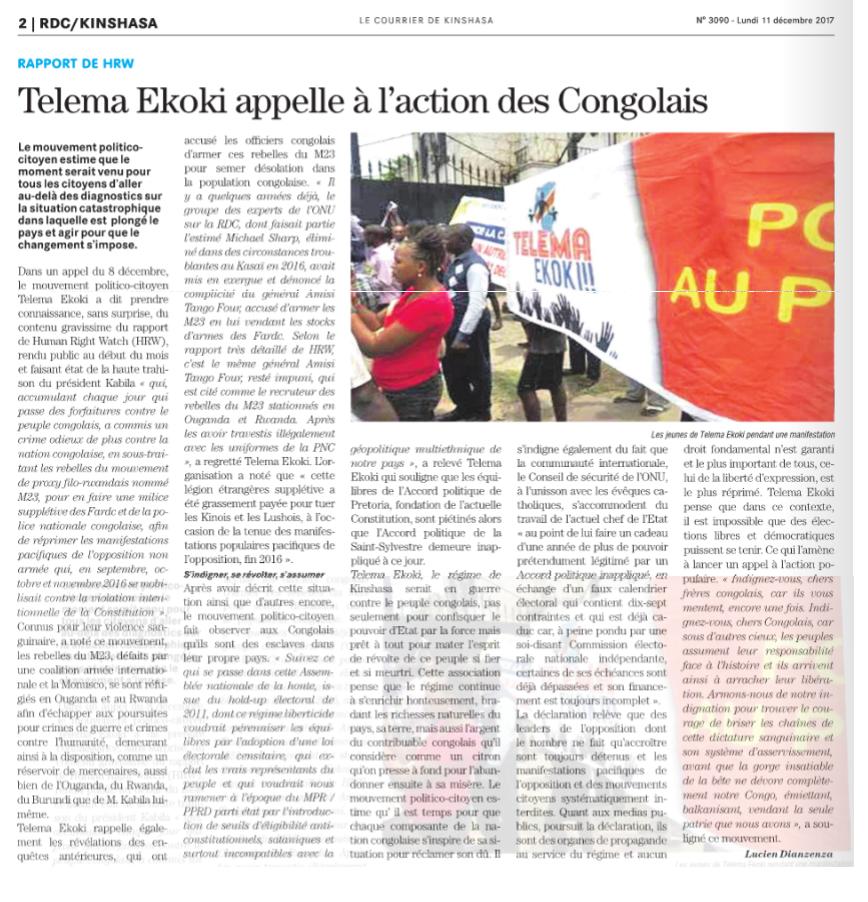 Rapport de HRW : Telema Ekoki appelle à l'action des Congolais/ LE COURRIER DEKINSHASA