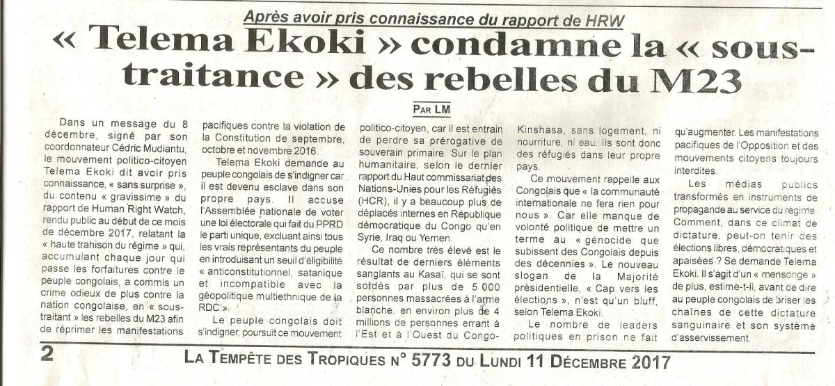 Après avoir pris connaissance du rapport de HRW : « Telema Ekoki » condamne la   « sous-traitance » des rebelles du M23 / LA TEMPETE DESTROPIQUES
