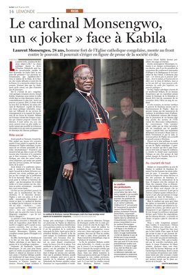 RD Congo: face à Kabila, le cardinal Monsengwo, un «joker» inattendu / COLETTE BRAECKMAN – LESOIR